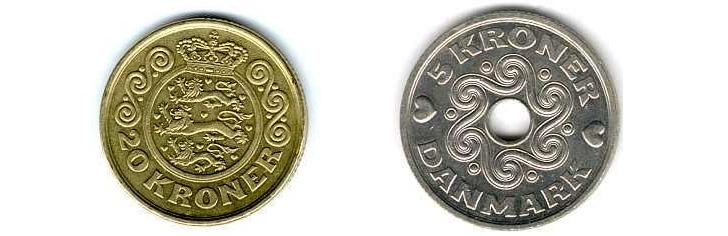 20 Dansish Kroner Coin And 5